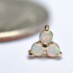 BVLA threadless Trinity end with faceted White Opals