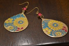 Pink Yellow Turquoise and Gold Earrings-Flowers by GlamNecessities