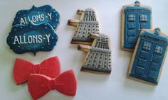 Doctor Who cookies Iced Cookies, Cute Cookies, Royal Icing Cookies, Cupcake Cookies, Sugar Cookies, Food Themes, Party Themes, Party Ideas, Dr Who Cake