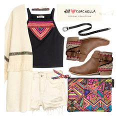 """H&M ♥ Coachella"" by pastelneon ❤ liked on Polyvore featuring H&M, Summer, boho, festival, HM and coachella"