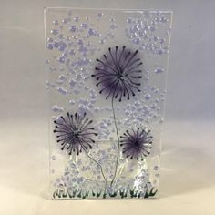 Floral Glass Plaque, Candle Display, Purple flowers, Fused Glass, Home Decor, Birthday Present, New Home Gift, Mothers Day Gift by WarmGlassFusion on Etsy