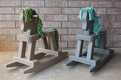 DIY toddler rocking horses using unfinished rocking horses from Michael's