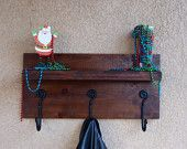 Rustic Handmade Coat Rack with a Floating shelf made of solid wood with Rustic hooks