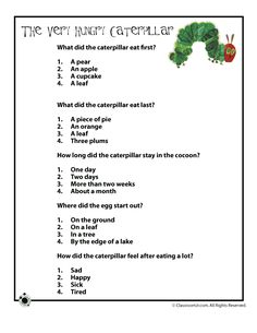 The Very Hungry Caterpillar Activities and Lesson Plan The Very Hungry Caterpillar Questions Worksheet – Classroom Jr.