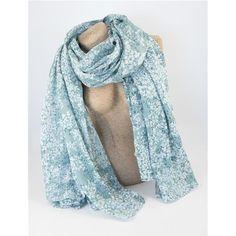 SCIARPA PAREO DANILA TEAL - Graziosa sciarpa pareo stampata con motivi floreali nei toni del verde acqua. Composizione: 100% cotone.