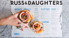 russ and daughters nyc salmon lox sign