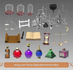 Potion Clipart, Potion Clip Art, Alchemy Graphic, Alchemist Image, Lab Scale PNG, Spell Scrapbook, Hourglass Art, Wizard Digital Download