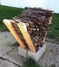 DIY Firewood Rack Love this idea for storing firewood outside. If you make it using PVC decking material it would last longer! DIY Firewood Rack Love this idea for storing firewood outside. If you make it using PVC decking material it would last longer! Cool Fire Pits, Diy Fire Pit, Fire Pit Backyard, Fire Pit Decor, Fire Pit Gazebo, Fire Pit Food, Fire Pit For Small Patio, Patio With Firepit, Patio Fire Pits