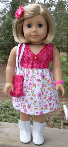 American Girl Doll Clothes Pink Flowered Summer Dress with Tote