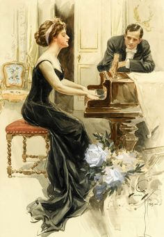 View A lady and her suitor by Harrison Fisher on artnet. Browse upcoming and past auction lots by Harrison Fisher. Love Vintage, Vintage Images, Vintage Prints, Vintage Art, Vintage Ladies, Vintage Woman, Motif Music, Piano Art, Gibson Girl