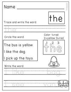 Science worksheets kindergarten sight words 49 ideas for 2019 Sight Words Printables, Sight Word Worksheets, Science Worksheets, Homeschool Kindergarten, Kindergarten Worksheets, Phonics Reading, Sight Word Practice, Text Features, Reading Passages