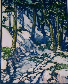 Rocky Path in the Woods (Spring in Ermine), 1930 by Frances Hammell Gearhart (b. 1869-1958), Californian artist (occasionally taught by Charles H. Woodbury) known for her colour woodcuts of the Sierras, the Pacific Coast, and the area around Big Bear Lake. She described sentinel trees, groves of eucalyptus, pines, oaks and Monterey cypress as well as valleys and canyons. http://www.francesgearhart.com/ Tags: Helen Elstone, Trees, Trunks, Shadows, Rocks, Leaves