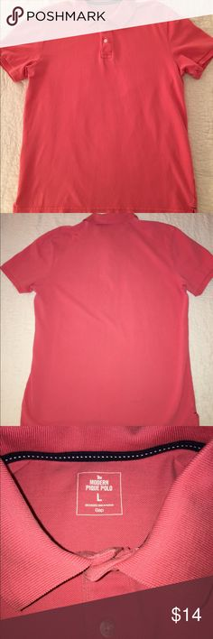 Men's Gap Modern Pique Polo, Coral - Large Great casual men's Polo from the Gap. Style is The Modern Pique Polo and it is a size large. It is a coral color and it has two buttons on the top. It is 100% cotton. I am selling the same shirt in gray. GAP Shirts Polos