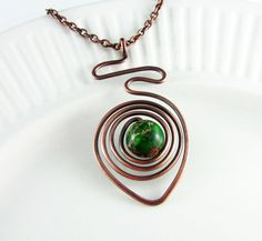 Wire Wrapped Pendant Jasper Necklace Copper Wire by PolymerPlayin