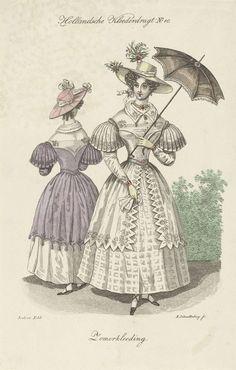 Twee jonge vrouwen in zomerkleren, Elisabeth Barbara Schmetterling, Gebroeders Diederichs, 1832 - Rijksmuseum Two young women in summer clothing, fashion plate, 1832