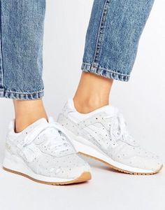 Белые замшевые кроссовки в горошек металлик Asics Gel-Lyte Iii