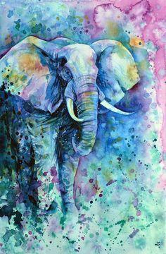 View Elephant in a Purple Cloud by Zaira Dzhaubaeva. Browse more art for sale at…