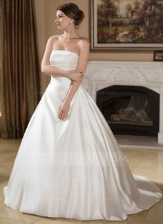A-Line/Princess Strapless Court Train Satin Wedding Dress With Ruffle (002004756) - JJsHouse