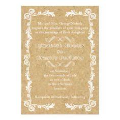 Cork with vintage frame wedding custom invitation. #wedding, #weddinginvitations, #invites, #cork, #vintage, #frame