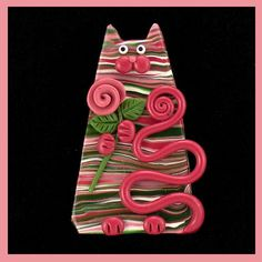 Pink Green Striped Rose Kitty Cat PIn by artsandcats, via Flickr