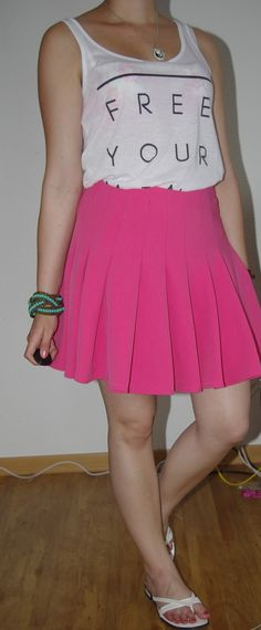 Pink Summer, Free your Mind, Tanktop  http://lucciola-test.blogspot.de/2014/06/outfit-pinker-rock-in-sommerstimmung.html