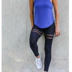 Women'S fashion new hot sale sports yoga fitness elastic slim mesh stitching pants skinny trousers leggings Leggings Mode, Leggings Fashion, Leggings Are Not Pants, Sport Fashion, Fitness Fashion, Fashion Women, Fitness Wear, Fitness Diet, Yoga Fitness