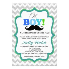 Oh Boy Mustache Baby Shower Invitations Chevron Personalized Invites