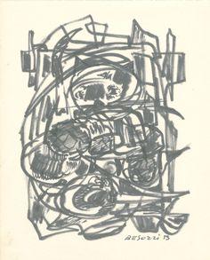 E. Besozzi pitt. 1959  Composizione pennarello su carta cm 16,5x13 arc. 577