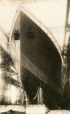 Outstanding photo of the MV Britannic during construction!