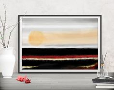 Express your unique style with this minimalist large art landscape. Shop printables at FraBor Art.     #walldecor #homedecor #interiordesign #painting #modernart #abstract #minimalist #digitalart #downloadable #printable #affordable #etsy #art #fraborart