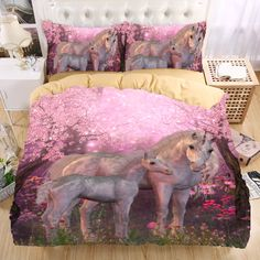 Unicorn 3D Bedding Set  Monocerus Print  Duvet cover set Twin queen king Beautiful pattern Real effect lifelike bedclothes #Affiliate