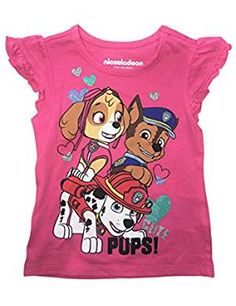 Short-Sleeve French Baby Bulldog in Love Shirts for Children Fashion Tunic Tops with Falbala 2-6T