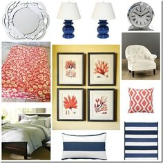 navy coral bedroom design love the coral prints and the geometric throw pillow