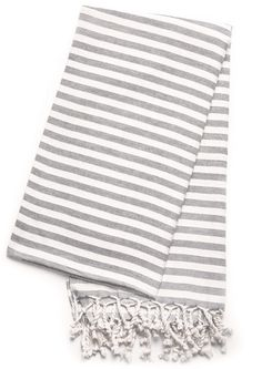 Grey striped Turkish Towel at www.tonicliving.com Scarf, blanket or towel? All of the above.
