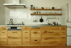 "A few years back we discovered the Japanese equivalent of Plain English and Henrybuilt: KitoBito (""trees and people""), a custom kitchen design company insp Kitchen And Bath, Kitchen Dining, Kitchen Cabinets, Cupboards, Oak Cabinets, Custom Kitchens, Home Kitchens, Japanese Kitchen, Low Cabinet"