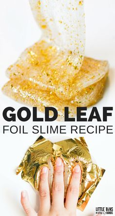 There is a never ending supply of super cool items that you can mix into homemade slime recipes. Our latest slime obsession is with these gold foil sheets to create a gold leaf slime. We have the best homemade clear glue slime out there and now we have ad Clear Glue Slime, Slime No Glue, Slime Craft, Glitter Slime, Diy Slime, Basic Slime Recipe, Cool Slime Recipes, Diy Unicorn, Edible Slime