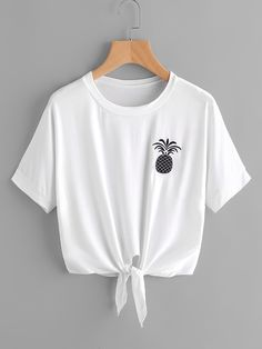 Pineapple Embroidered Tie Front Tee is part of Cute outfits - Crop Top Outfits, Cute Casual Outfits, Stylish Outfits, Kids Outfits Girls, Teen Fashion Outfits, Girl Outfits, Emo Outfits, Punk Fashion, Lolita Fashion