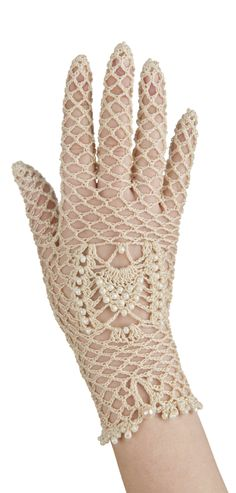 Elegant bridal crochet gloves with a beaded detail