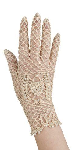 Elegant bridal crochet gloves with a beaded detail