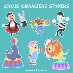 Pacote de circo adesivos de personagens Vetor grátis