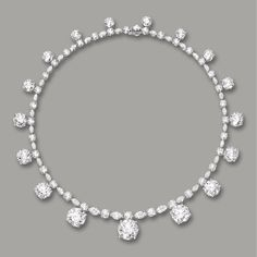 SPECTACULAR DIAMOND NECKLACE, NIRAV MODI Set with seventeen brilliant-cut diamonds weighing 10.51 carats to 1.27 carats, spaced by brilliant-cut and marquise-shaped diamonds, the diamonds together weighing 85.33 carats, mounted in platinum, length approximately 420mm.