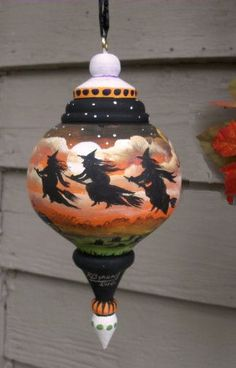 "Hand Painted wood ornament ""Three Witches"" by artists Sherry and Ron Byrum"