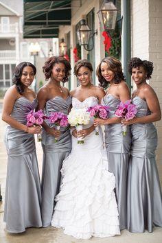 grey and lavender wedding colors… Bridesmaids dresses: ballew bridal.. Brides dress: bridals by lori… photographer: Ah photography