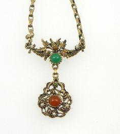 Vintage Gemstone Necklace Carnelian Aventurine by SecondImpulse, $45.00