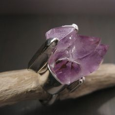 Magical Purple ring - Raw Amethyst quartz and sterling silver   by Jealousy.design