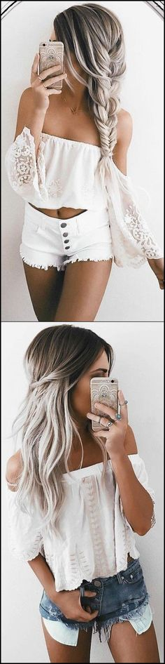 Cute Casual Summer Outfits for Teens 2017 Tumblr Style Shorts White Crop Top Bell Sleeves - Brikiniz.com
