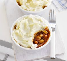 BBQ beans with mashed potato tops-ive always loved these two foods together, and now i can make them together!?