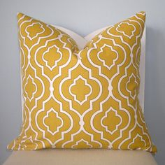 Yellow and White Moroccan Tile Geometric Pillow by pillowplush, $28.00