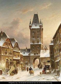 A Townscene In Winter - Charles Henri Leickert