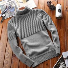 Grey stripe plain high neck long sleeve cotton sweater - Outfits for Work - Grey stripe plain high neck long sleeve cotton sweater - Male Sweaters, Mens Fashion Sweaters, Mens Fashion Wear, Sweater Fashion, Men Sweater, Fashion Vest, Style Fashion, Fashion Shoes, Outfits Casual